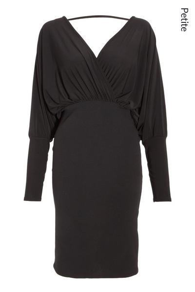 Petite Black Batwing Bodycon Midi Dress
